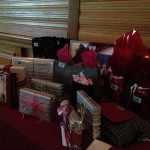 some of our raffle prizes beautifully wrapped by Tia