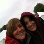 Shonagh and Nichola smiling in the rain